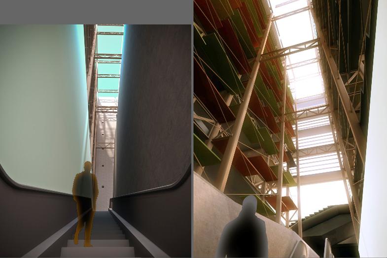 ascending through the atrium