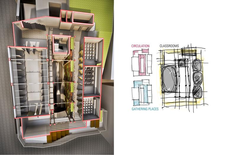 vertical section cut + plan diagrams